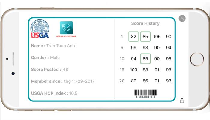 Cách tính điểm golf bằng ứng dụng VHandicap